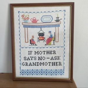 Vintage handmade art w/ funny embroidered graphic